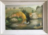 Original Oil on Board 'The Boating Party' by Peter Gardner. R.O.I.B.1923 Signed & Dated Framed