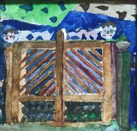 Original Watercolour '2 Boys by Their Gate' by Doreen Heaton Potworowski 1930-2014 c.1970 Initialled on the Reverse (2 of 2)