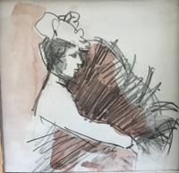 Original Watercolour and Pencil Drawing 'an Elegant Lady' by Bernard Batchelor (2 of 2)