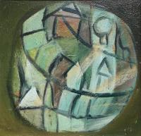 Original Oil Painting on Board 'Figure in a Circular Form' by Doreen Heaton Potworowski, Framed