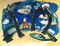 Original Gouache Painting 'Figure Among Trees' by Doreen Heaton Potworowski Initialled & Framed c.1970 (2 of 2)