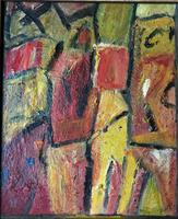 Original Oil Painting on Board 'Two Figures'' by Doreen Heaton Potworowski 1930-2014. Initialled & Framed c.1970 (2 of 2)