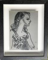 Original Monotype 'Portrait in Profile' by Toby Horne Shepherd Signed c.1960