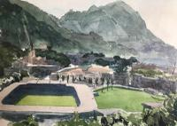 Original Watercolour 'Hong Kong Football Club, Gwulo, Old Hong Kong' by Elizabeth Sinclair. 1955 / 1956. Signed & Framed (2 of 3)