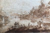 Original Sepia & Pencil Watercolour 'Durham' by Sir Augustus Wall Callcott Unsigned. Framed (3 of 5)