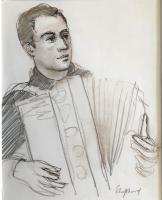 Original Mixed Media Drawing 'the Italian Accordionist, Tuscany' by Toby Horne Shepherd c.1960
