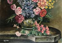 Original Oil On Board 'Summer Flowers'. Initialled and Dated  '56'[ (2 of 3)