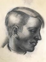 Original Chalks and Pencil Drawing 'Profile Portrait of a Man by Alan Stenhouse Gourley P.R.O.I. 1909-1991-1990. Framed Initialled and Dated 55 (2 of 2)