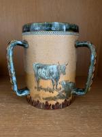 Doulton Lambeth Hannah Barlow Rare 3 Handled Cattle TYG (2 of 4)