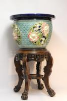 Fine French Pottery Jardiniere with Original Stand (16 of 16)