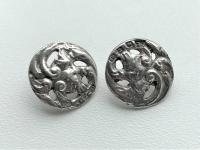 Charming Pair of Cast Silver Victorian Buttons