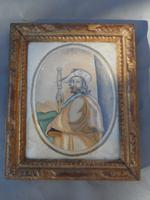 18th Century Silk Embroidery on Paper of Saint James