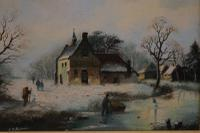 Figures in a Winter Landscape by G J Adema (3 of 6)