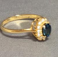 18ct Yellow Gold Sapphire & Diamond Cluster Ring. Edinburgh 1981 (6 of 6)