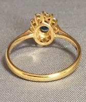 18ct Yellow Gold Sapphire & Diamond Cluster Ring. Edinburgh 1981 (5 of 6)