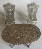 19th Century Silver Miniature / Doll's Table & Two-Chair Set