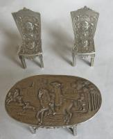19th Century Silver Miniature / Doll's Table & Two-Chair Set (10 of 10)