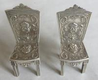 19th Century Silver Miniature / Doll's Table & Two-Chair Set (9 of 10)