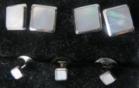 Art Deco, Mother of Pearl & White Gold Cufflinks & Studs