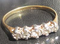 Antique Five-Stone Old-Cut Diamond and 18ct Ring - Ca 1920