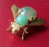 Franconeri - Mid Century Italian Designer Jade & 18ct Bug Brooch