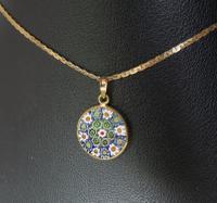 Murano Millefiori Enamel & Gold Pendant on Chain - ca. 1980