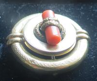 Grand Tour or Etruscan Revival Coral & Gold Brooch - 19th Century