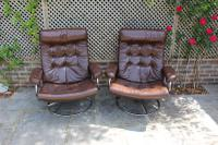 Pair of 1970s Ekornes Reclining Leather Armchairs