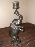 16th / 17th Century Very Rare Laotian Black Mercury Bronze Elephant Candle Holder