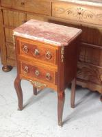 French Marble Top Inlaid Chest