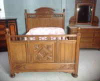 Arts & Crafts French Oak Bed (16 of 30)
