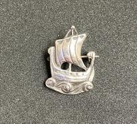 Scottish Silver Viking Ship Brooch