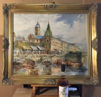 Large European School City Riverscape Oil Painting - Paris Prague Dresden