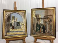 Good Pair North African Middle Eastern Townscape Oil Paintings