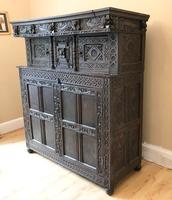 Excellent 17th Century Shropshire Hand Carved English Oak Court Cupboard (2 of 7)