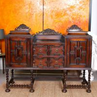 Antique Oak Sideboard Arts & Crafts 19th Century Carved Credenza Country