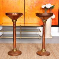 Pair of Antique Copper Brass Jardiniere Stands 19th Century 2 Plant Torcheres
