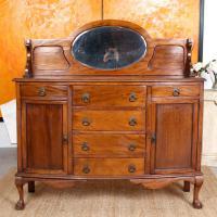 Antique Sideboard Arts & Crafts Mahogany Credenza 19th Century Cabinet