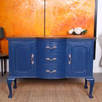Antique Sideboard Blue Painted Credenza Stripped Top Edwardian Vintage (12 of 12)