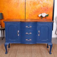 Antique Sideboard Blue Painted Credenza Stripped Top Edwardian Vintage (11 of 12)