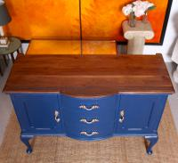 Antique Sideboard Blue Painted Credenza Stripped Top Edwardian Vintage (10 of 12)
