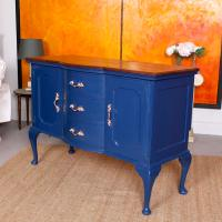 Antique Sideboard Blue Painted Credenza Stripped Top Edwardian Vintage (9 of 12)
