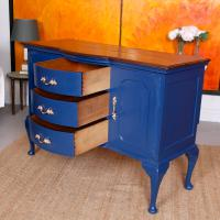 Antique Sideboard Blue Painted Credenza Stripped Top Edwardian Vintage (8 of 12)