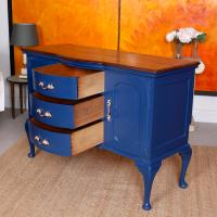 Antique Sideboard Blue Painted Credenza Stripped Top Edwardian Vintage (7 of 12)