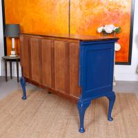 Antique Sideboard Blue Painted Credenza Stripped Top Edwardian Vintage (2 of 12)