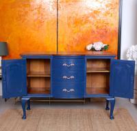 Antique Sideboard Blue Painted Credenza Stripped Top Edwardian Vintage
