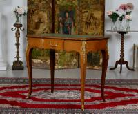 French Louis VI Manner Writing Desk Walnut Gilt Leather Table