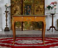 French Louis VI Manner Writing Desk Walnut Gilt Leather Table (2 of 12)