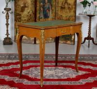 French Louis VI Manner Writing Desk Walnut Gilt Leather Table (7 of 12)