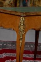French Louis VI Manner Writing Desk Walnut Gilt Leather Table (8 of 12)